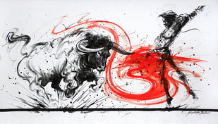 Bull Fight by Shekhar Ballari, Impressionism Painting, Acrylic on Canvas, Gray color