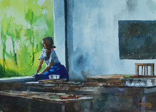 On A Noon Interval by Mopasang Valath, Impressionism Painting, Watercolor on Paper, Green color
