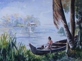 Village Scape 7 by Mopasang Valath, , , Cyan color
