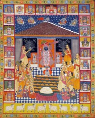 pichwai painting by Lokesh, Folk Painting, Stone Colour on Cloth, Brown color