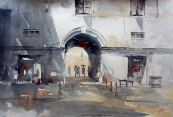 Going Nowhere by Sajal K. Mitra, Image Painting, Watercolor on Paper,