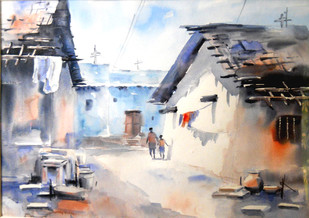 Life by Sajal K. Mitra, Impressionism Painting, Watercolor on Paper, Gray color