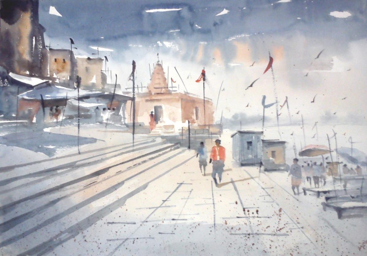 Benaras Ghat Digital Print by Sajal K. Mitra,Impressionism