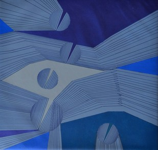 Abstract Space D by S K Sahni, Geometrical Painting, Acrylic on Canvas, Blue color