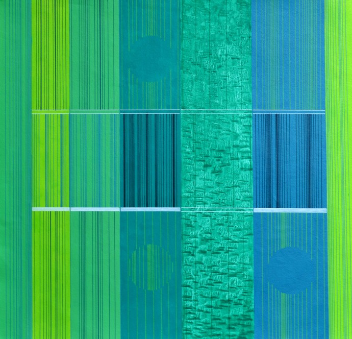 Abstract Space G by S K Sahni, Abstract Painting, Acrylic on Canvas, Green color