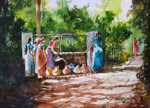Gossip Route by Mopasang Valath, Impressionism Painting, Watercolor on Paper, Green color