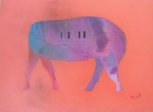 UNTITLED by Babu Xavier, Expressionism Painting, Acrylic on Canvas, Pink color