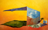 White House by Ranjit Balmuchu , Surrealism Painting, Oil on Paper, Orange color