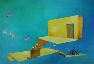 Postman and the Yellow House Digital Print by Ranjit Balmuchu ,Surrealism