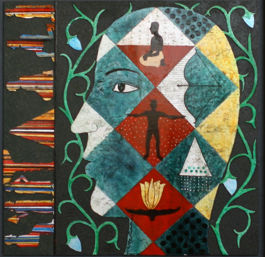 UNTITLED by Chippa Sudhakar, Decorative Painting, Acrylic on Wood, Green color