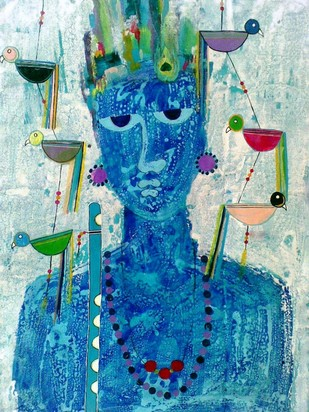 KABIR - THE FAKIRA by Sharad Bhardwaj , Expressionism Painting, Acrylic on Canvas, Blue color