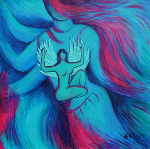 Winged by Kanchan Chander, Fantasy Painting, Acrylic on Canvas, Blue color