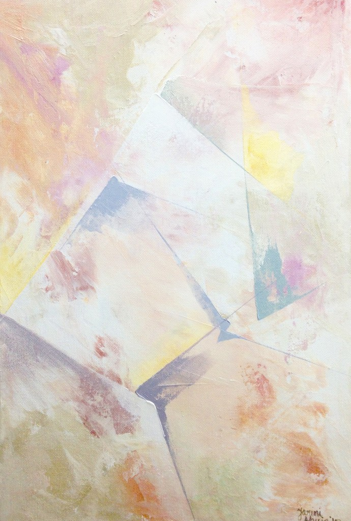 Untitled (Titanium - 2) by Tarini Ahuja, Abstract Painting, Acrylic on Canvas, Beige color