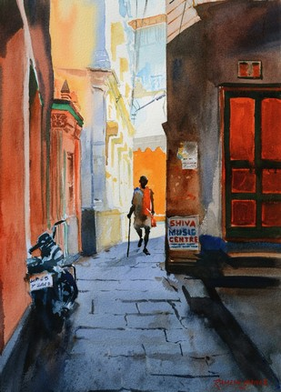 Lanes of Varanasi 5 by Ramesh Jhawar, Impressionism Painting, Watercolor on Paper, Brown color