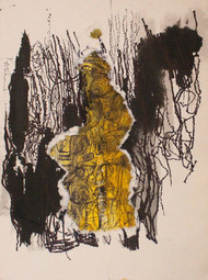 Spinning Deep 4 by Rashmi Khurana, Minmalism Painting, Acrylic & Ink on Paper, Brown color