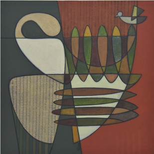Inner Message by Digamber Gavali, Cubism Painting, Acrylic on Canvas, Brown color