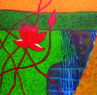 The Maze by Ranjeeta Kant, Fantasy Painting, Acrylic on Canvas, Green color