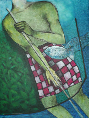 Lord of the Sea by Ranjeeta Kant, Expressionism Painting, Acrylic on Canvas,