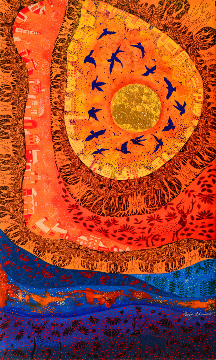 Golden Sun Digital Print by Pragati Sharma Mohanty,Fantasy