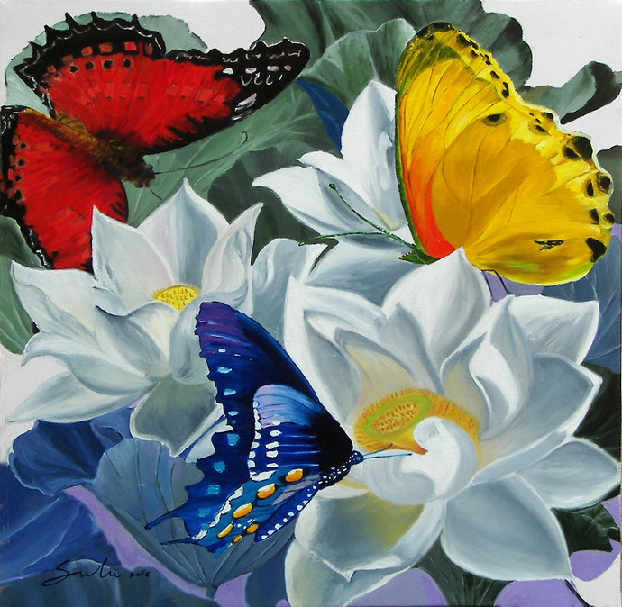 Flowers with Butterflies by Sulakshana Dharmadhikari, Decorative Painting, Oil on Canvas, Green color