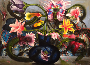 Flowers from Heaven 28 by Manu Parekh, Expressionism Painting, Oil & Acrylic on Canvas, Brown color