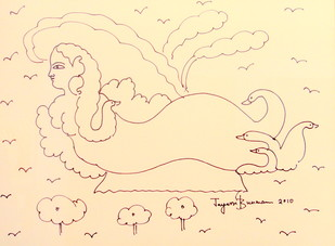 Untitled by Jayasri Burman, Illustration Drawing, Pen on Paper, Yellow color