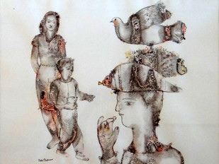 Untitled by Sakti Burman, Impressionism Painting, Watercolor on Paper, Gray color