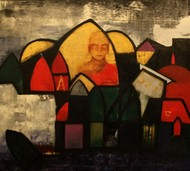 Plenitude V by Pratap SJB Rana, Expressionism Painting, Acrylic on Canvas, Brown color
