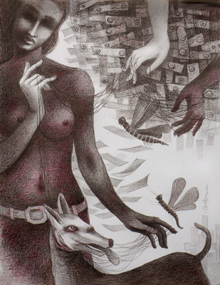 UNSOLVED VENTURE 56 by Rakhi Kumar, Illustration Drawing, Mixed Media on Paper, Brown color