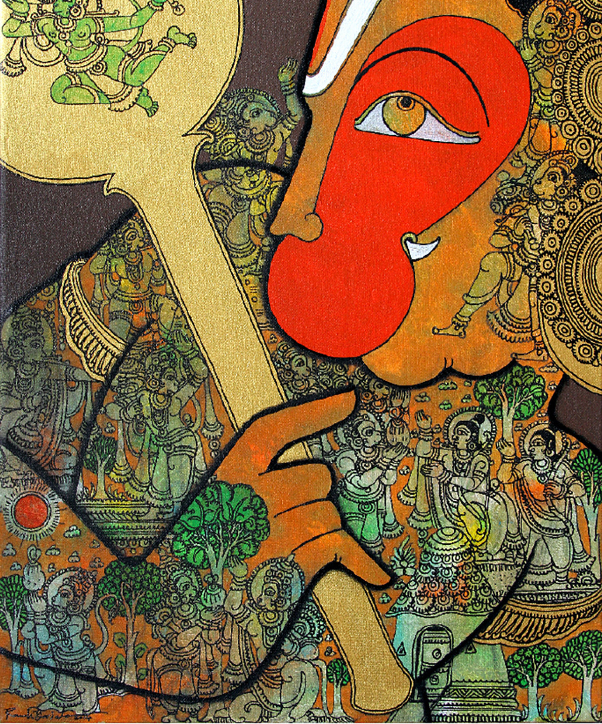 Hanuman by Ramesh Gorjala, Traditional Painting, Mixed Media on Canvas, Brown color
