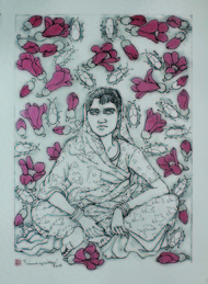 Untitled by A Ramachandran, Illustration Painting, Watercolor on Paper, Gray color