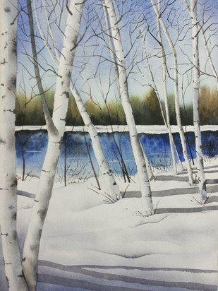 Winter Birches by Poulami Basu, Impressionism Painting, Watercolor on Paper, Gray color