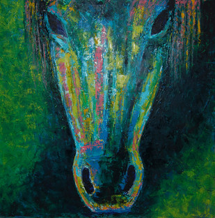 Green Horse by Ashokkumar.B, Impressionism Painting, Oil on Canvas, Green color