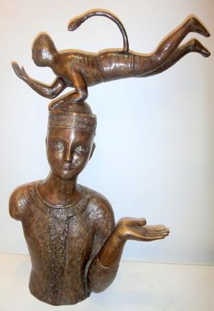Untitled by Sakti Burman, Art Deco Sculpture, Bronze, Gray color