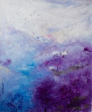 Mauve and White by Prenita Dutt, Impressionism Painting, Oil & Acrylic on Canvas, Blue color