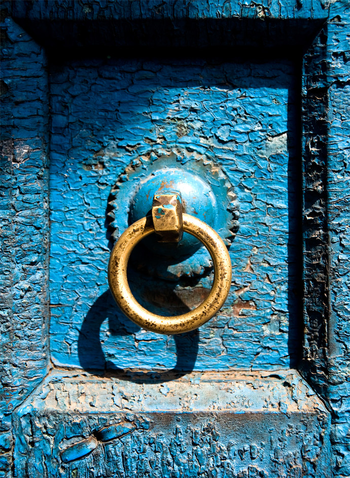 Door Bell by Dipak Asole, Image Photography, Digital Print on Canvas, Blue color