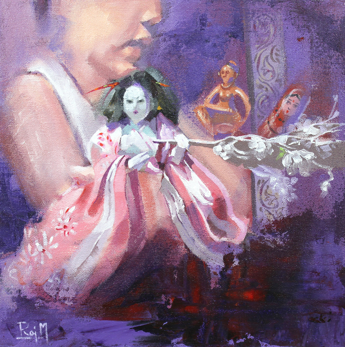 Me and the Japanese Doll I by Raj Maji, Impressionism Painting, Acrylic on Canvas, Pink color