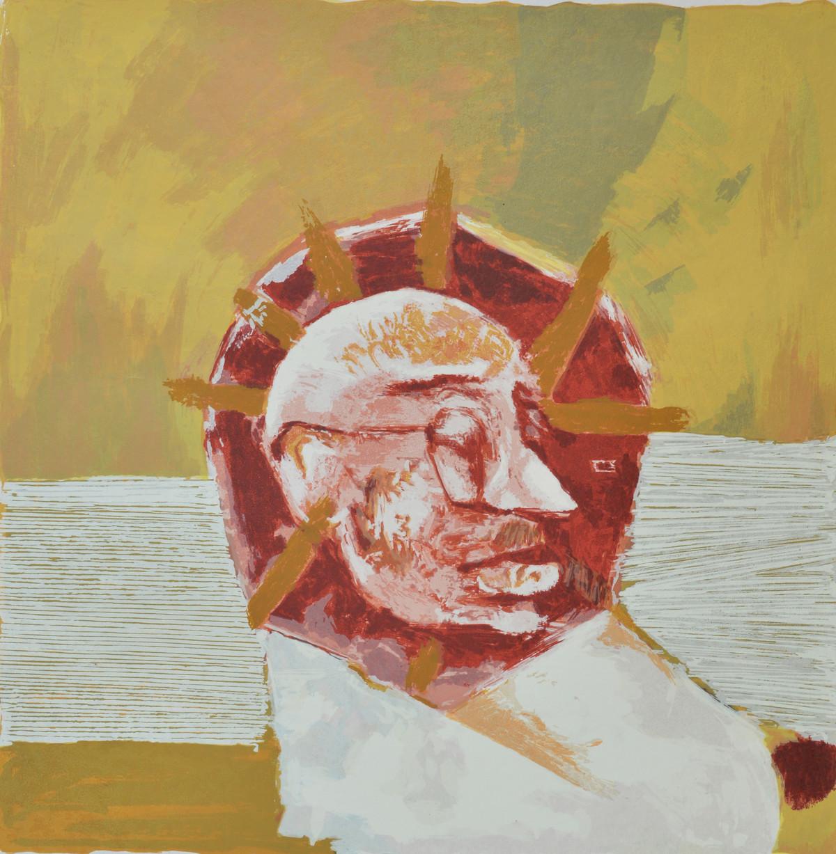 Gandhi by Haku Shah, Impressionism Serigraph, Serigraph on Paper, Beige color