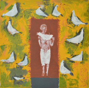 Peace by Haku Shah, Impressionism Serigraph, Serigraph on Paper, Brown color