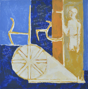 Satya by Haku Shah, Impressionism Serigraph, Serigraph on Paper, Blue color