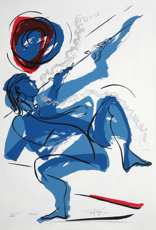 Krishna by Jatin Das, Expressionism Printmaking, Serigraph on Paper,