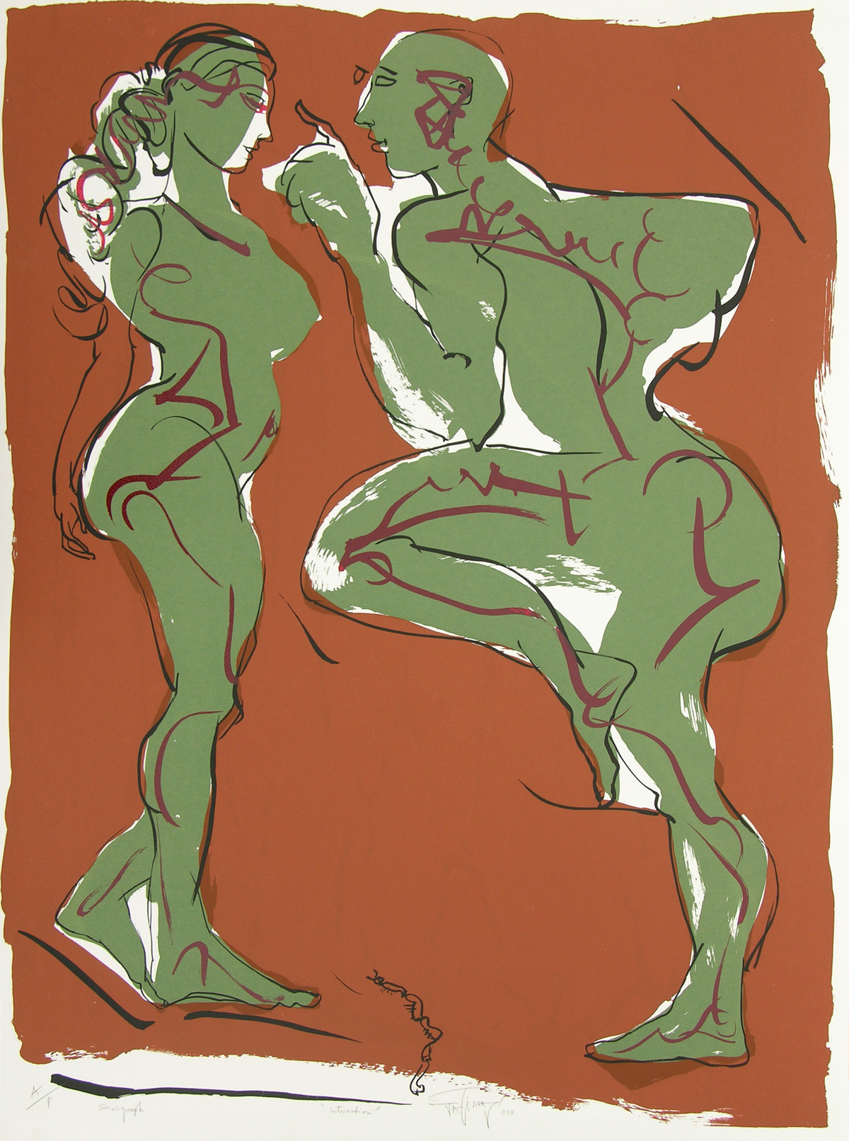 Interaction by Jatin Das, Impressionism Serigraph, Serigraph on Paper, Brown color