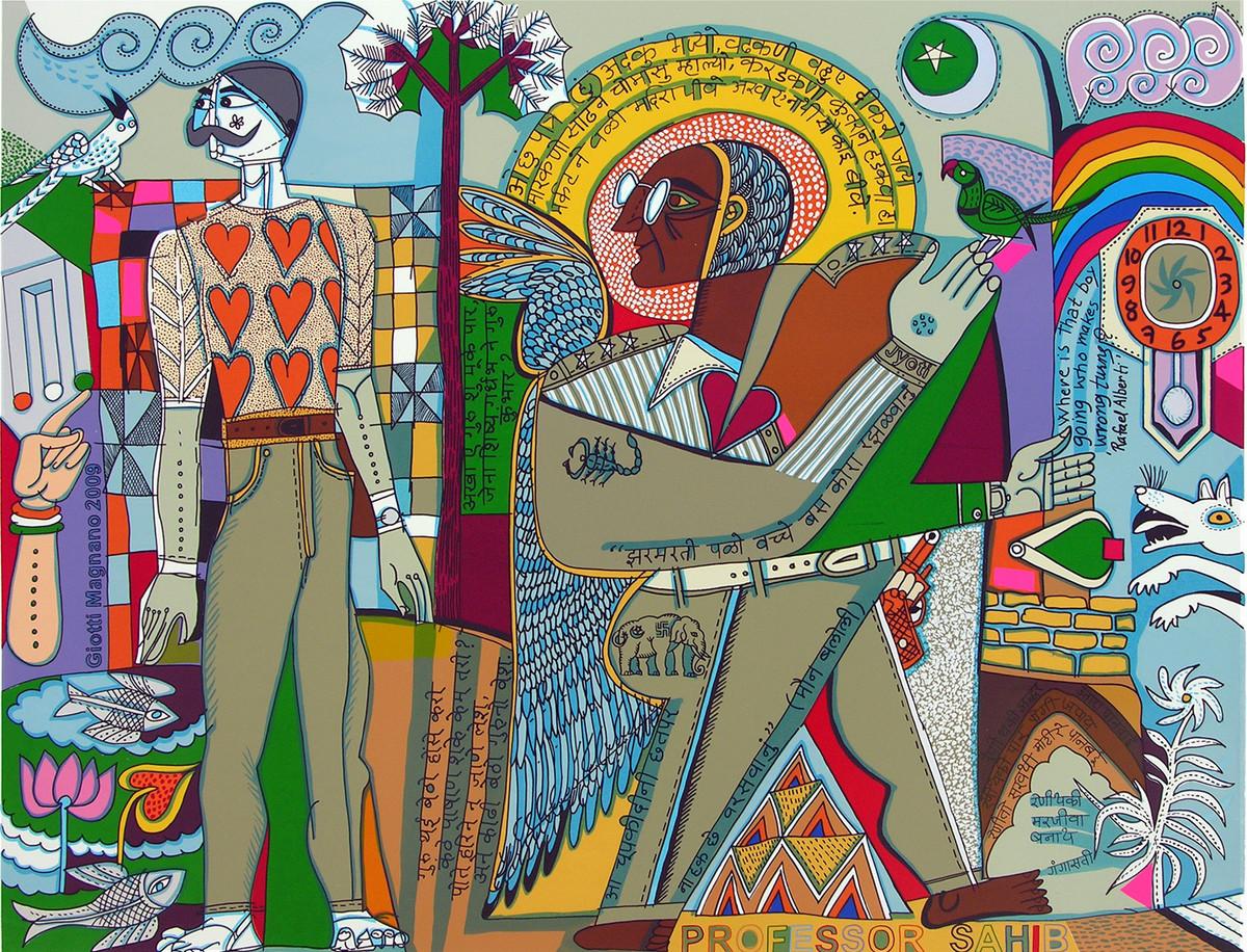 Myself as an artist by Jyoti Bhatt, Pop Art Serigraph, Serigraph on Paper, Brown color