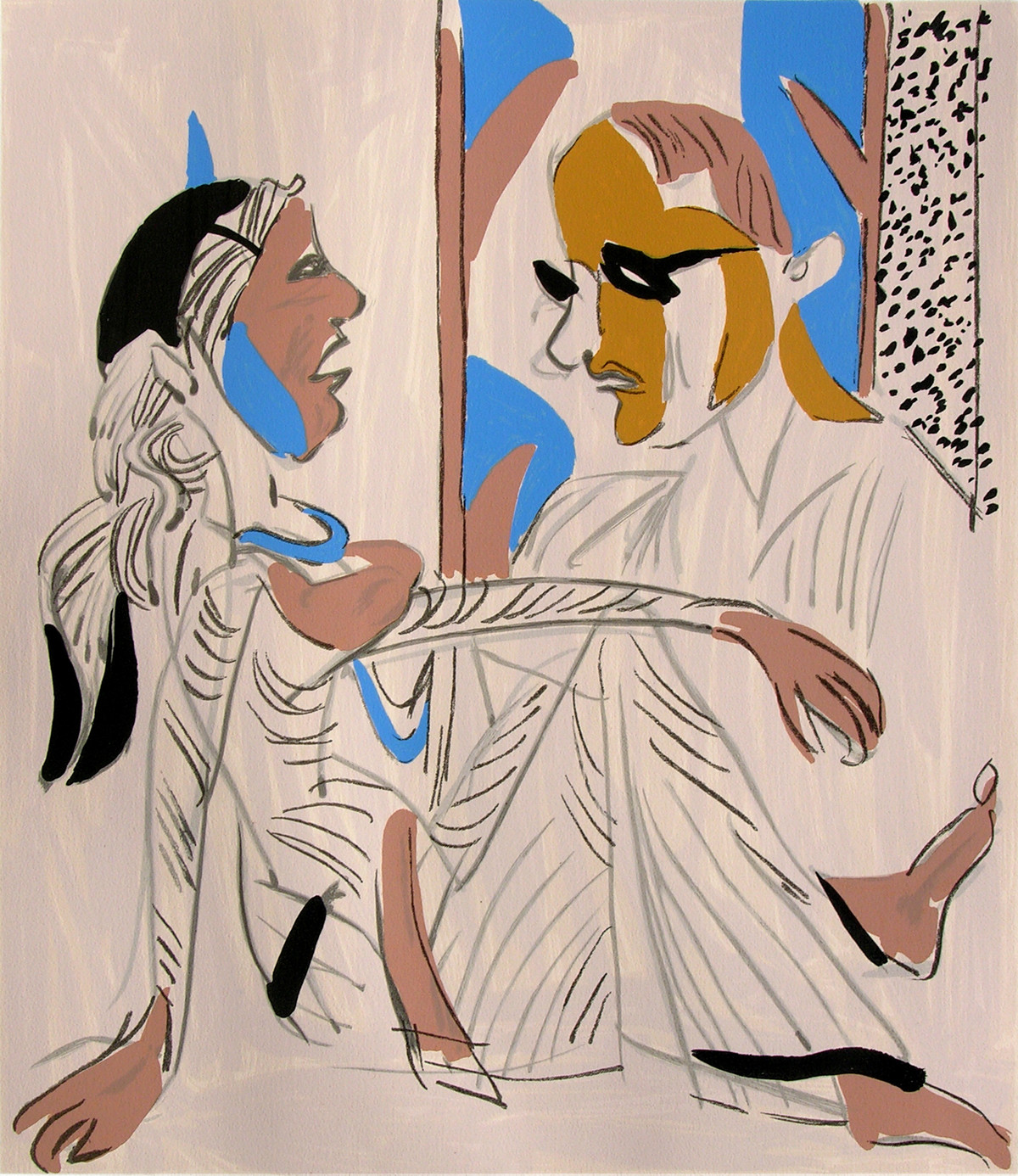 Untitled by K. G. Subramanyan , Expressionism Serigraph, Serigraph on Paper, Beige color
