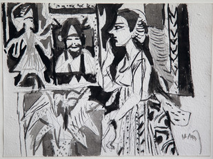 Untitled by K. G. Subramanyan , Impressionism Painting, Watercolor & Ink on Paper, Gray color