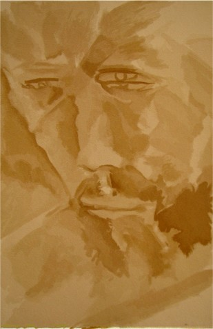 The Face by Akbar Padamsee, Impressionism Serigraph, Serigraph on Paper, Brown color