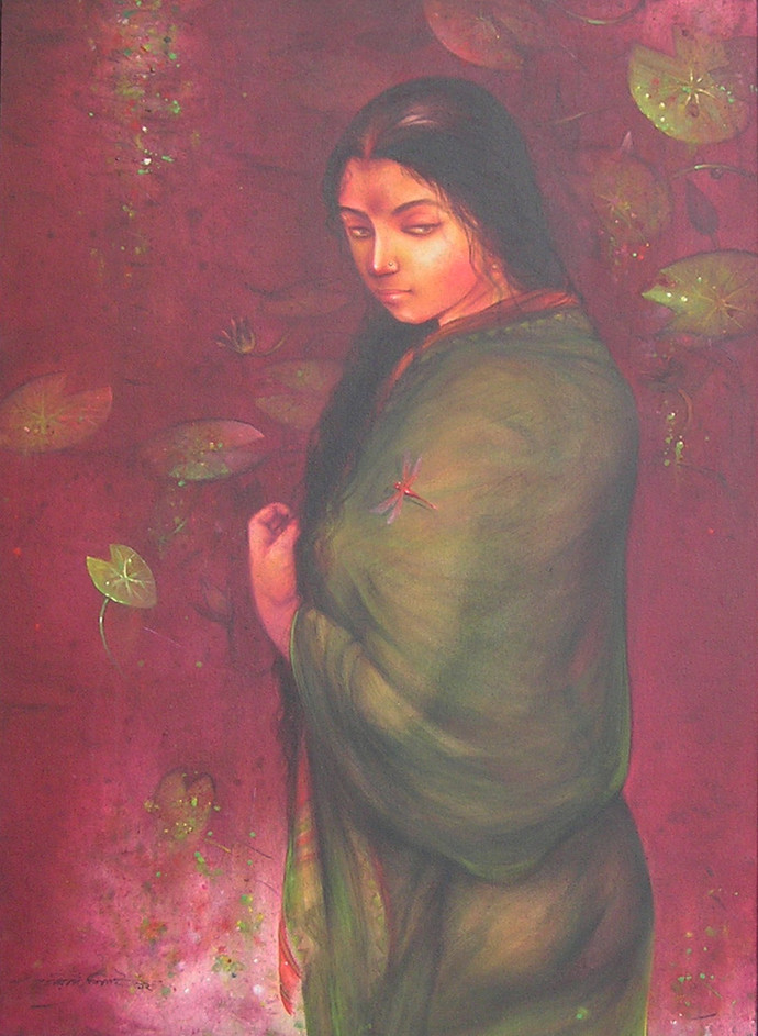 Indian Woman by Gouranga Beshai, Decorative Painting, Acrylic on Canvas, Brown color