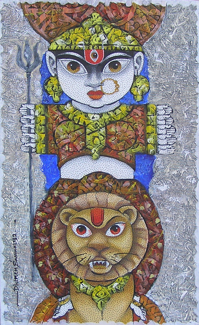 Goddess Durga by Dhiren Sasmal, Traditional Painting, Acrylic on Canvas, Brown color