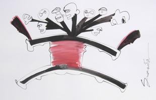 RAVANA by Sukanta Chowdhury, Illustration Drawing, Ink on Paper, Gray color