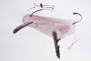 ANIMAL SERIES 1 by Sukanta Chowdhury, Illustration Drawing, Ink on Paper, Gray color